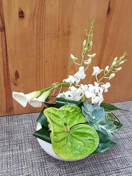 Bar à fleurs Montalieu - composition fleurs blanches